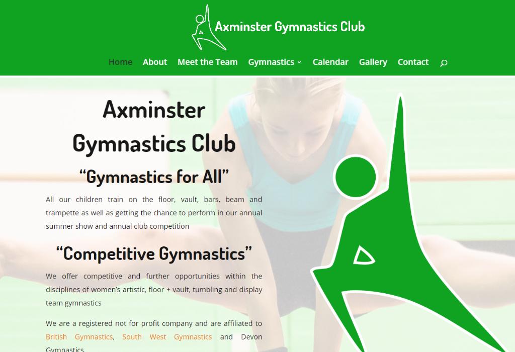 Axminster Gymnastics website screenshot