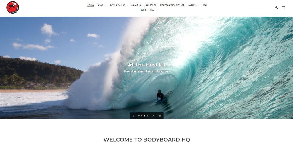 Bodyboard HQ website screenshot
